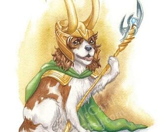 "Loki Dog - Watercolor 8x10"" print of a King Charles Spaniel as Loki"