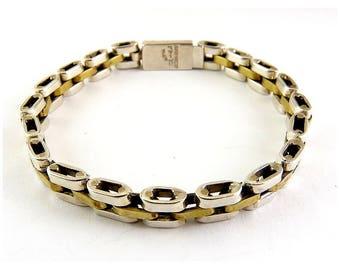Sterling Silver & Brass Tread Link Bracelet - Mexican