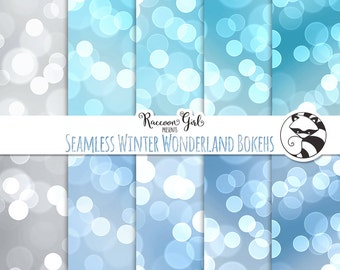 Seamless Winter Wonderland Bokeh Digital Paper Set - Personal & Commercial Use