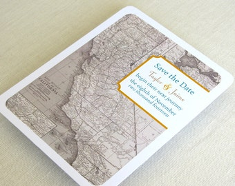 California Save the Date Postcard - Wedding Vintage Map - Destination Travel Theme - Color and Font Options