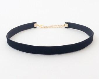 Black Velvet Choker | 90s Choker | Thin Black Choker Necklace