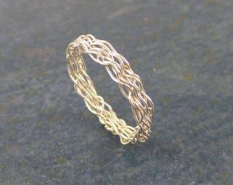 Basketweave ring, sterling silver