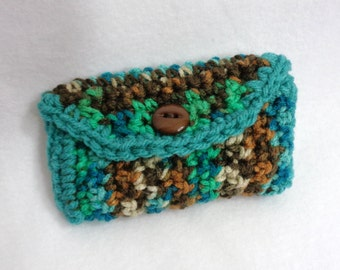 Purse Pouch Business Card Holder, Turquoise and Brown Small Lipstick Holder, Credit Card Wallet, Gift for Friend, Crochet Accessory