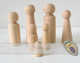 Male/Boys Wooden Peg Doll People - suitable for painting, montesorri, waldorf, open ended play
