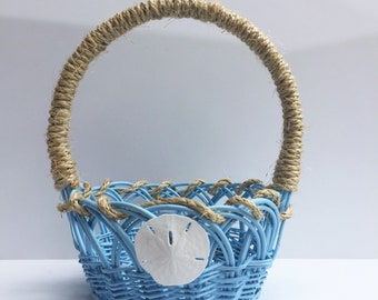 Wedding Basket For Flower Girl, Wedding Baskets, Beach Wedding Baskets, Baskets for Wedding Favors, Flower Girl Basket, Blue Wedding Basket