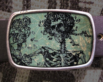 Grateful Skeleton Belt Buckle, Grateful Dead Buckle 572 Groomsmen Wedding