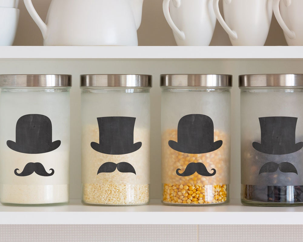 Top Hat And Mustache Chalkboard Label Sticker Labels