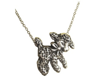 Lamb Necklace      sheep silver gold pendant charm little jewelry