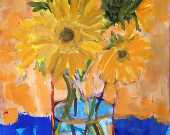 """Art and collectibles, painting, Original ,gouache, sunflowers yellow christineparker art on paper modern impressionist wall candy 12x9"""""""