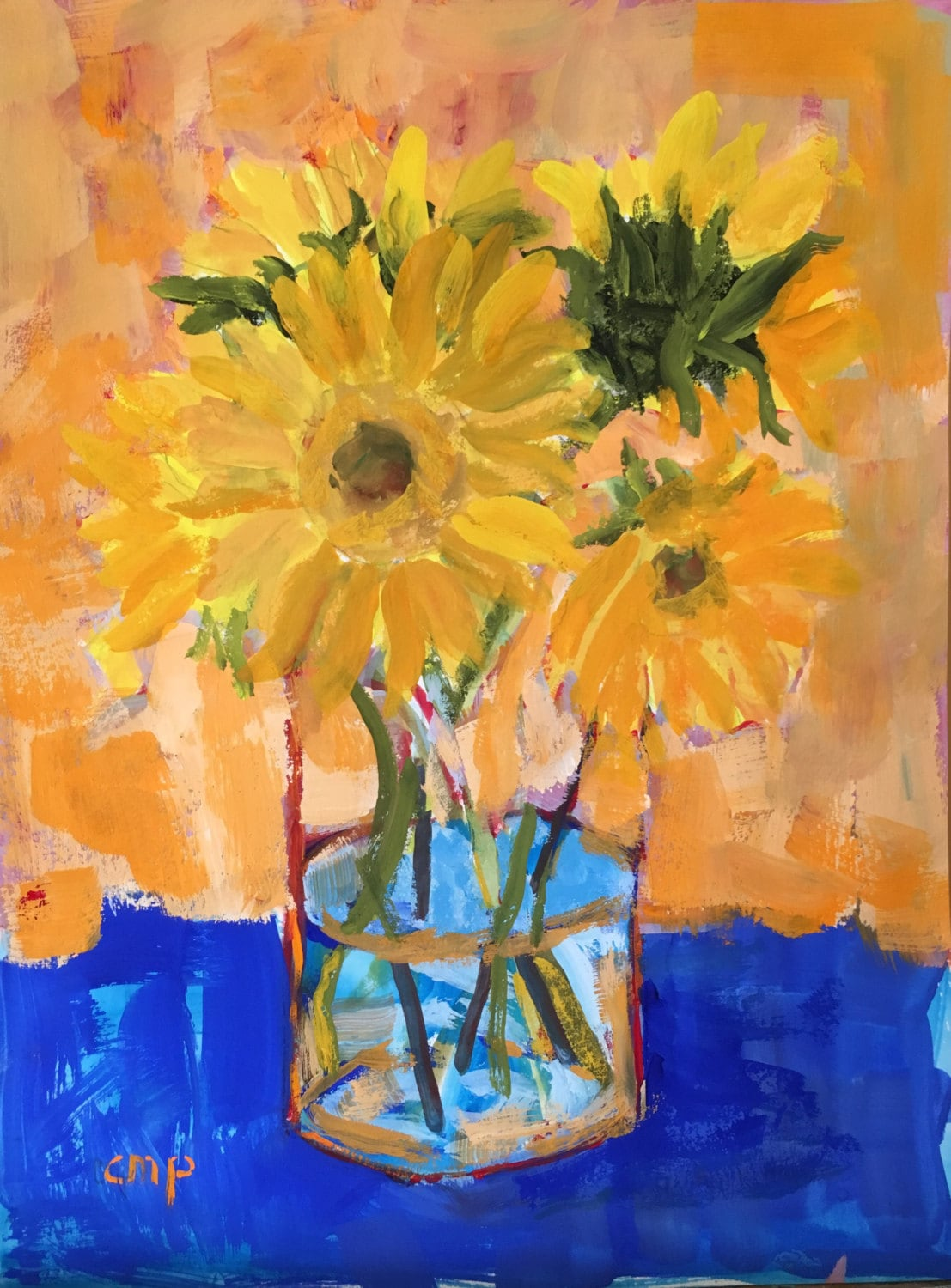 Art and collectibles painting Original gouache sunflowers