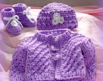 Hand knit baby sweater, hat , boots, size newborn,great baby shower gift,coming home outfit,original design by kidsknits1