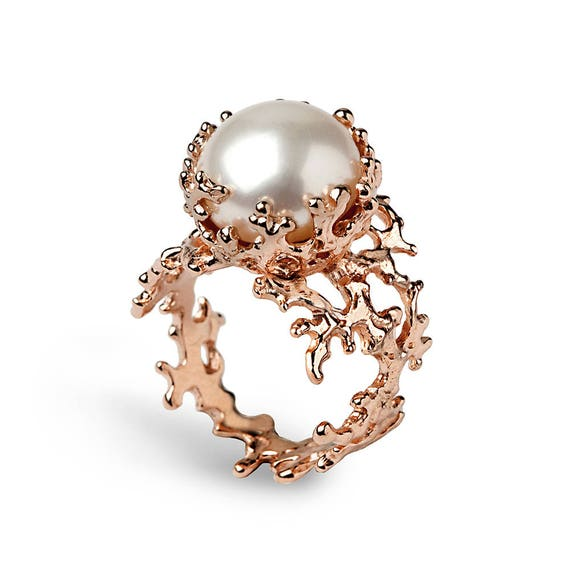 CORAL Pearl Ring Rose Gold Ring Pearl Engagement Ring Rose