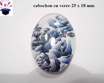 1 cabochon glass 25mm x 18mm flowers theme
