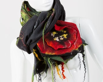 Shawl With Poppy Flowers / Nuno Felt / Red  Flowers  /  Handmade Felted Shawl / Merino Wool / Wrap.