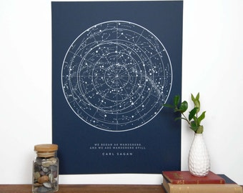 Sagan Star Chart - Navy   Constellation Print   Star Map   Astronomy Chart    Educational Science Illustration