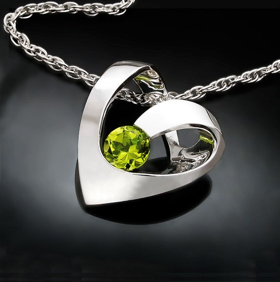 peridot necklace, August birthstone, heart necklace, green necklace, gemstone necklace, birthday gift, for her - 3401
