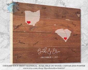 Wedding Guest Book Sign Wedding Guest Book Alternative, Guest Book Map Wedding Map Wedding Signs Wood Unique Wedding Gift Bridal Gift Ideas