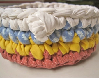 Catch-All Fabric Crochet Bowl/Basket in Mustard/Baby Blue/Terra Cotta from recycled cotton