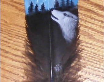 9 1/2 in. Hand Painted Turkey Tail Feather - Howling Wolf