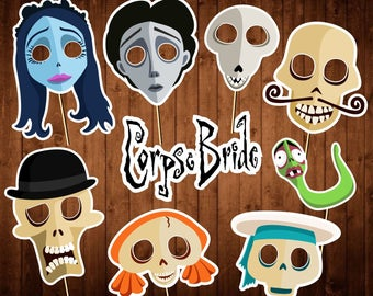 Corpse Bride Photo Booth Props - Printable PDF - Halloween Photo Props - INSTANT DOWNLOAD
