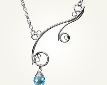 Spiral Necklace, Sterling Silver, Handcrafted, Blue Gemstone, Bubble, Wave, Swirl, Loop. GREEK ISLE NECKLACE with Swiss Blue Topaz.