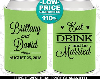 Wedding Favor Can Coolers, Eat Drink and Be Married, Wedding Can Coolers, Personalized Can Coolers, Custom Can Coolers (C30)