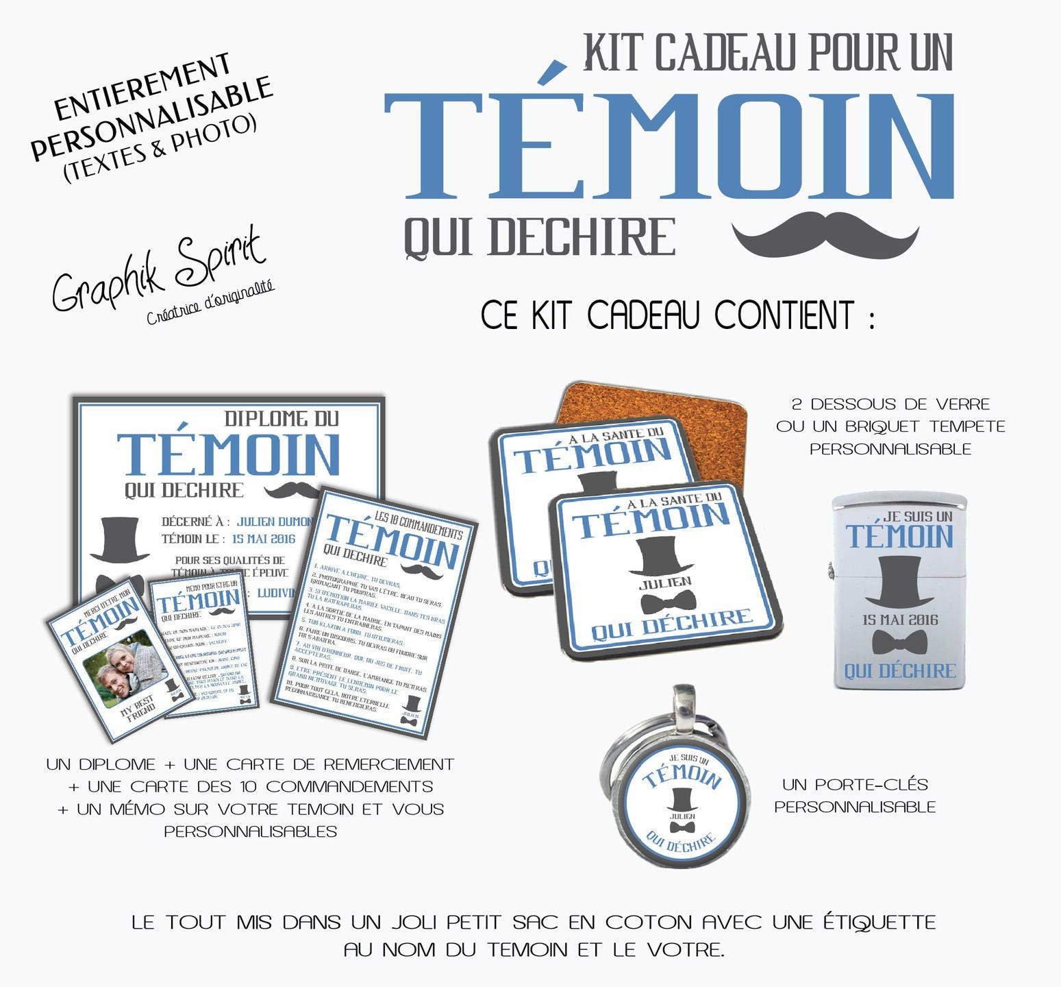 Extrêmement Kit Cadeaux pour TEMOIN HOMME A offrir à son témoin de UP55