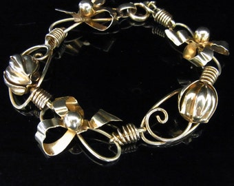 Vintage Bows and Floral 10k Yellow Gold Bracelet Mid Century Estate on SALE from 449 LAYAWAY AVAILABLE