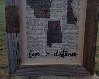 "Framed Original Vintage Dictionary Art ""Love is Greater Than Distance"""