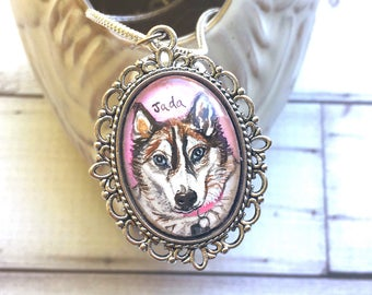 Siberian Husky Jewelry - Husky Gifts - Custom Pet Portrait Jewelry - Pet Memorial Necklace - Pet Loss Gifts - Dog Memorial Necklace For Her