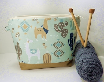 Knitting bag Llamas, Crochet project bag, small work in progress knitters gift,  gift for knitter, crochet gift