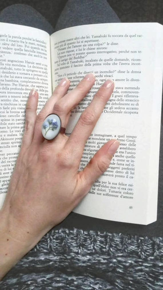 Pressed flower ring Nature ring Copper resin ring adjustable copper ring band Statement ring Forget me not ring Love token Oval ring womens