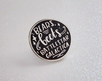 Bears, Beets, Battlestar Galactica - enamel lapel pin | cute enamel pin hat badge the office dwight