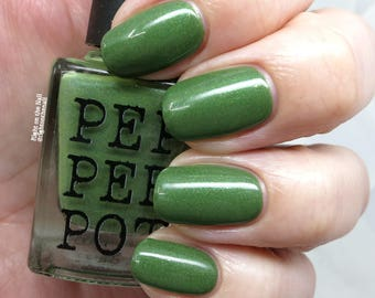 Green Creme Green Shimmer Indie Handmade Nail Polish Lauhala Bath Beauty Pepper Pot Polish Gift For Her Gift Under 15
