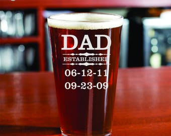 Fathers Gift,Fathers Gift, Pint Beer Glass, Dad, Daddy. Pops, or Gramp's, Beer , Birthday Beer Glass, Engrave , Personalized