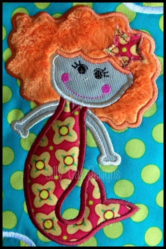 Mermaid Girl Applique Machine Embroidery Design