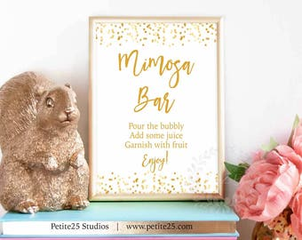 Gold: Mimosa Bar sign, baby shower sign, gold foil dots, printable sign, party sign, instant download