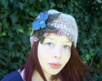 Angora Crochet Hat with Large Felted Flower- Khaki Green and Blue- Taupe Rainbow