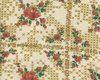 Vintage Floral Fabric with Cross Stitch Like Design  1 yard