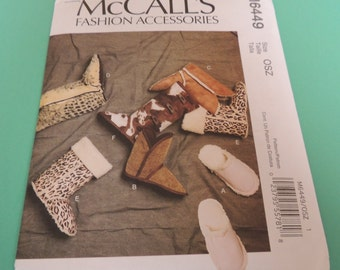 McCalls Slipper pattern, Uncut M6449