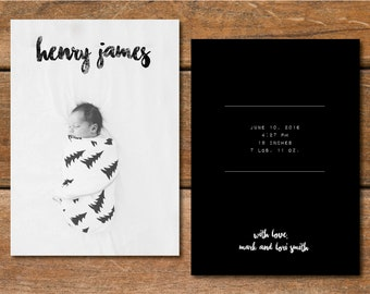 Hipster Baby Announcement • Watercolor • Modern • Black & White • New Baby • Custom Announcement • Printable • Digital • Photo Card