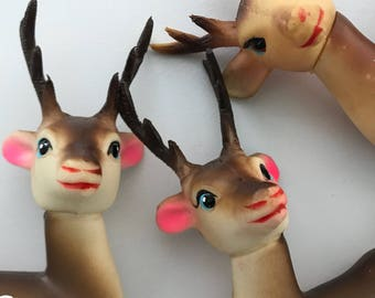 Vintage 50s 60s Christmas Rubber Reindeer Lot