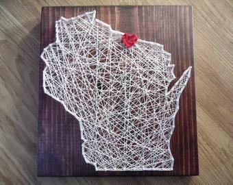 Wisconsin String Art, Wisconsin Art, Wisconsin string art, wisconsin decor, Wisconsin String Decor, Wisconsin String Art Decor