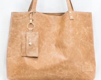 Tan Leather Bag, Brown Leather Tote with Wallet , Travel Bag, Work Bag - Tan Leather Tote with Tassel - Oversized Leather Tote