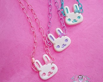 Cute bunny necklace Pastel Goth, Soft Grunge, kawaii,soft grunge, lolita,harajuku,fairy kei