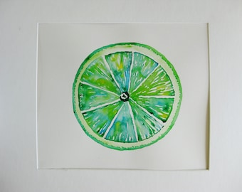Lime watercolor painting, Original watercolor,lime, green kitchen art, fruit painting