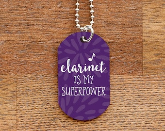 Clarinet Superpower Dog Tag Necklace for Band Geeks