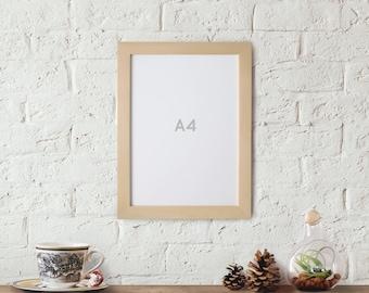 A4 Picture Frame, 21 cm x 29.7 cm Natural Unfinished Wood Frames Craft Frames, international Size Frame Art Frame, Photo Frame, Poster Frame