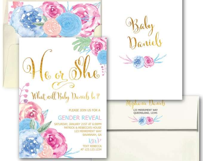 Gender Reveal Invitation // Gender Reveal Party // He or She // Boy or Girl // Gold Foil // Floral // Watercolor // SAVANNAH COLLECTION