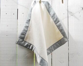 Organic Cotton Fleece Baby LOVEY with Grey Satin Trim, Small Comfort Blanket, Satin Woobie